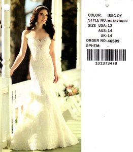 Martina Liana Iv Lace and Chmpg Organza Over Oyster Satin & Royal Dolce 787 Traditional Wedding Dress Size 10 (M)