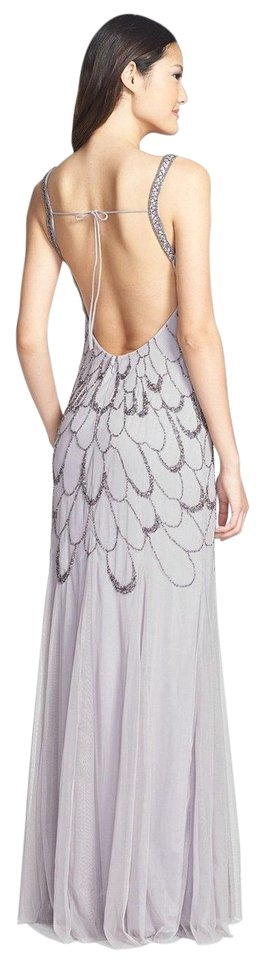 Adrianna Papell Heather Grey Beaded Backless Mesh Art Deco Gown Long ...