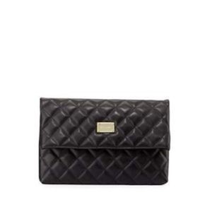 St. John Quilted Leather Black Clutch