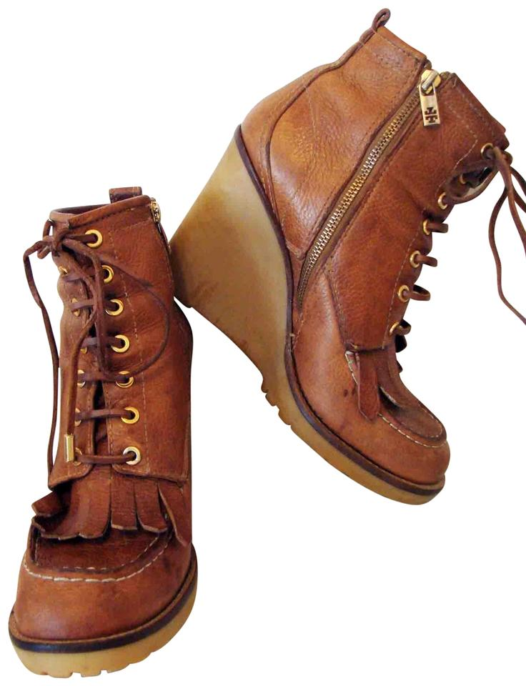 0e043f728d5 Tory Burch Cognac Howard Wedge Hiking Boots Booties Size US 10.5 ...