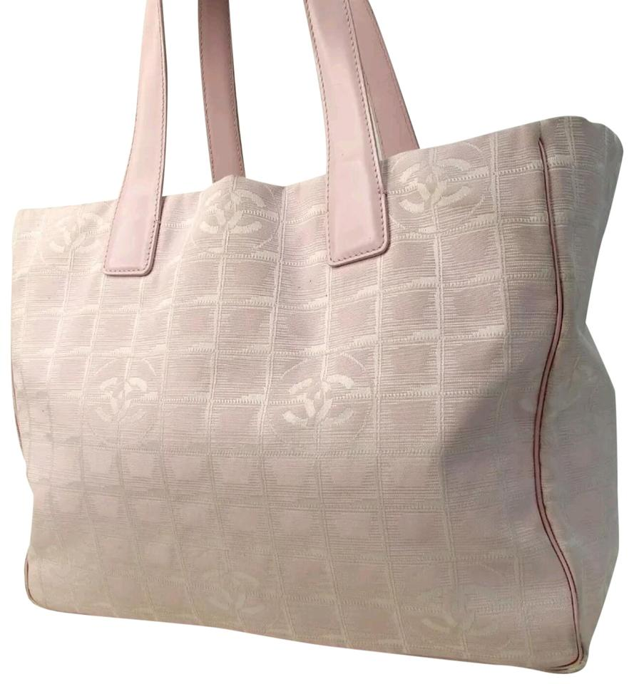 0c600725aaccac Chanel New Travel Line Mm Jacuard Cc Tote Satchel Pink Nylon Leather ...
