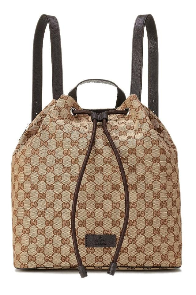 0245219fd64b Gucci New Women's Gg Pull Draw String Bookbag Brown Canvas Backpack