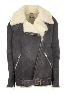 Acne Studios Shearling Velocite Grey Leather Jacket