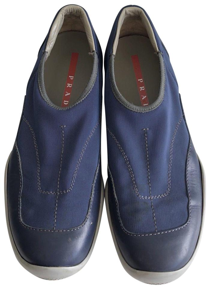 sale uk on sale outlet store Prada Blue Linea Rossa Neoprene Laceless Americas Cup Slip On Sneakers Size  EU 39.5 (Approx. US 9.5) Regular (M, B) 74% off retail
