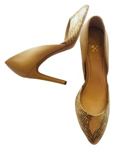 Vince Camuto Gold and Tan Pumps