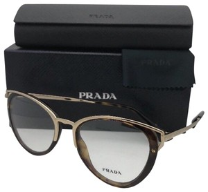 Prada New PRADA Eyeglasses VPR 53U 2AU-1O1 52-19 145 Tortoise & Gold Cat Eye