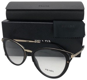 Prada New PRADA Eyeglasses VPR 53U 1AB-1O1 52-19 145 Black & Gold Cat Eye