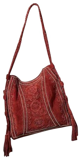Item - Embroidered Rio Burgundy Red Suede Tote