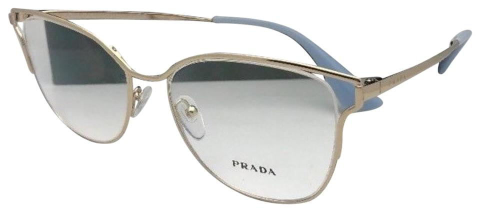07a33b5e0455 Prada New Vpr 54u Zvn-1o1 53-17 145 Gold & Blue Cat Eye Frames with ...