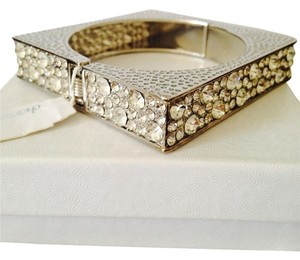 Charming Charlie NWT Square Crystal Hinged Silver Bracelet