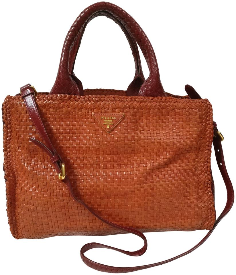 a16ae5f4e21a Prada Madras Woven Satchel Tote Orange Leather Cross Body Bag - Tradesy