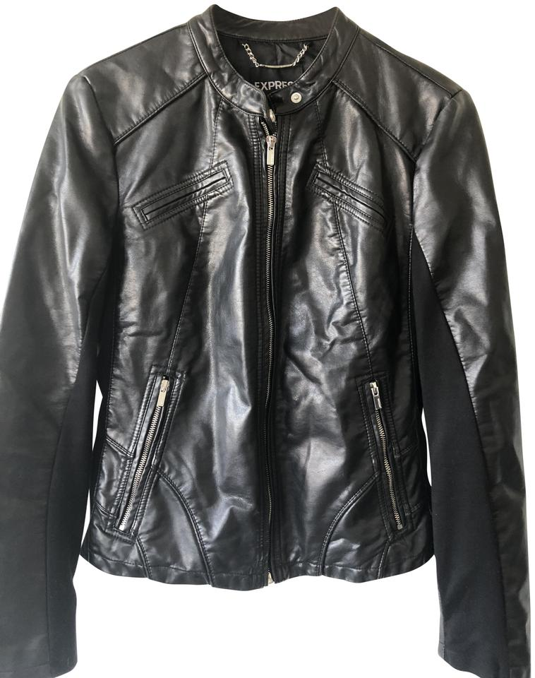Express Black Faux Leather Jacket Size 8 M Tradesy