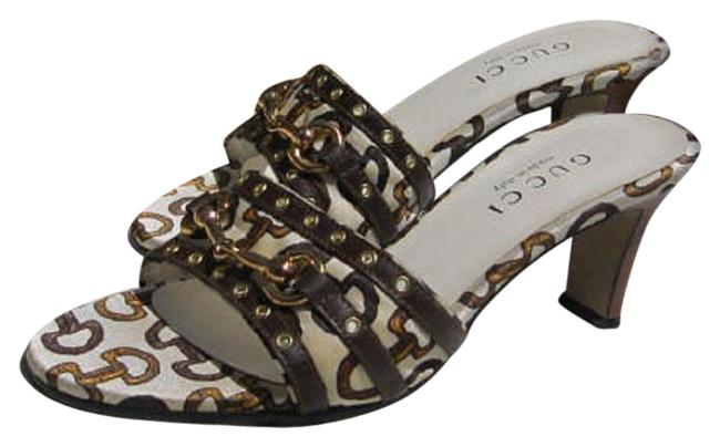 Item - Brown White Horsebit Grommet Leather and Print Fabric Sandals Size EU 35.5 (Approx. US 5.5) Regular (M, B)