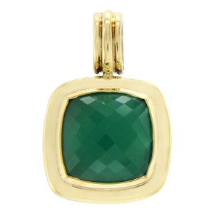 David Yurman DAVID YURMAN 925 Silver & 18K Gold 14 mm Green Onyx Albion Pendant
