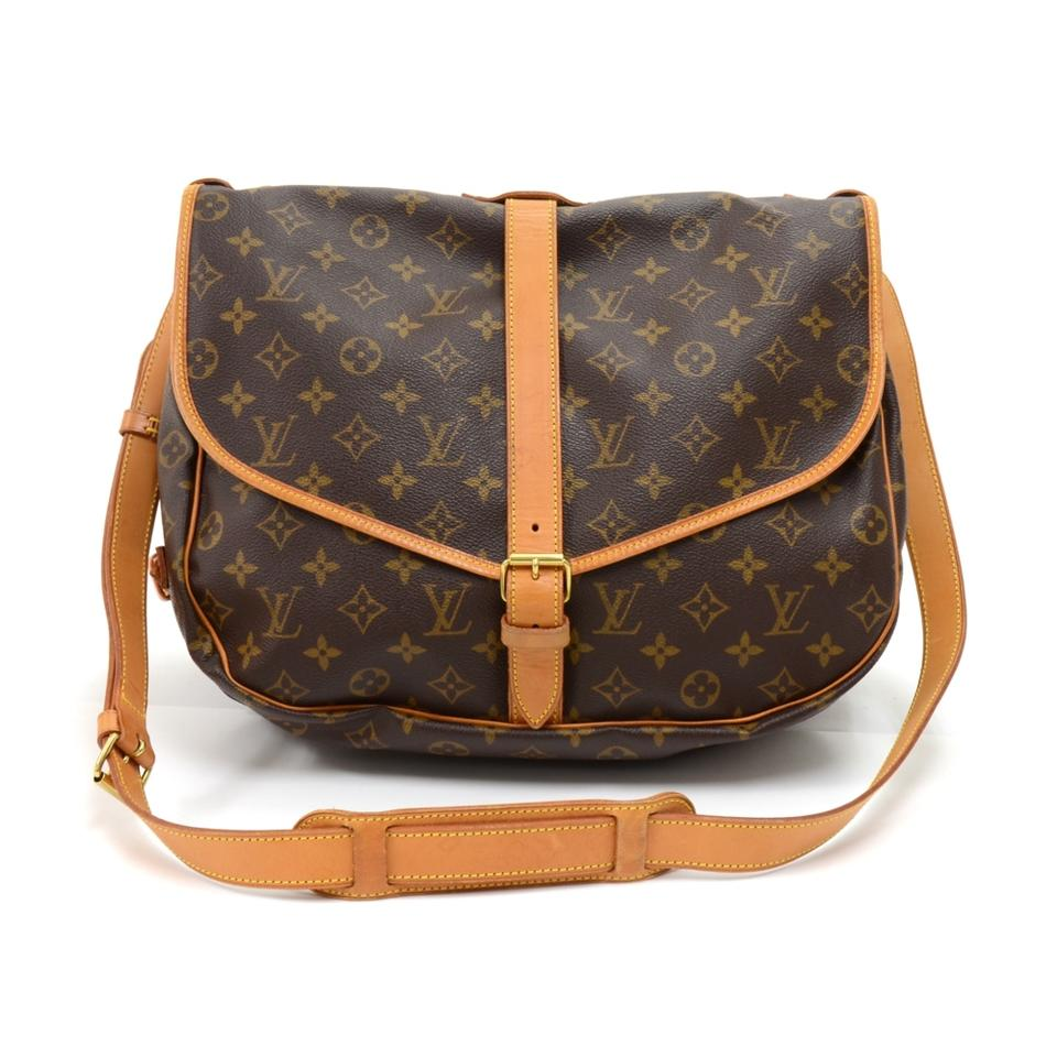 louis vuitton saumur vintage 35 monogram brown canvas shoulder bag tradesy. Black Bedroom Furniture Sets. Home Design Ideas