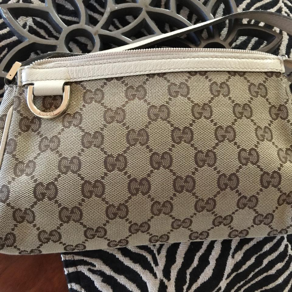 5d239701fcc9 Gucci Abbey D-ring Pochette Cream Beige Brown Gg Leather Canvas Wristlet