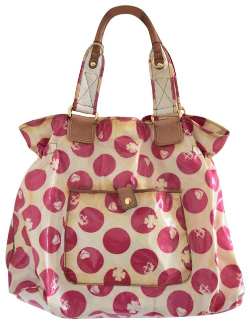 Item - Polka Cream and Pink Coated Canvas Leather Tote