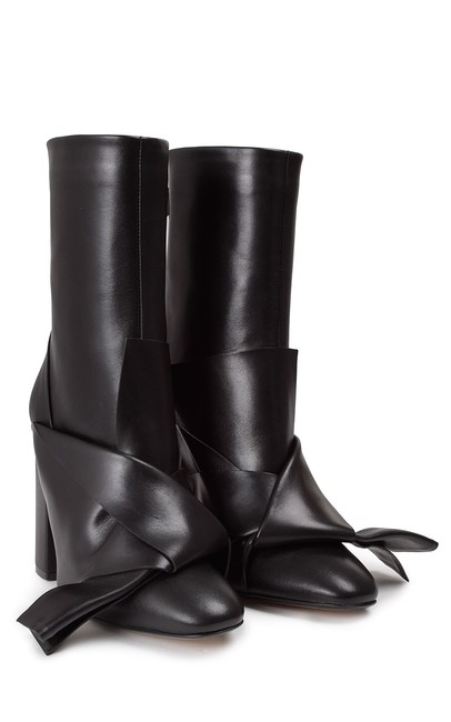 Item - Black New Italian Designer Bow Front Calf Leather Ankle Boots/Booties Size EU 38.5 (Approx. US 8.5) Regular (M, B)