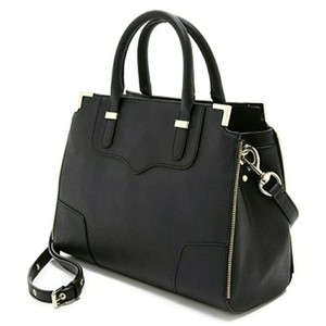 Rebecca Minkoff Structured Leather Color-blocking Wool Satchel in Black