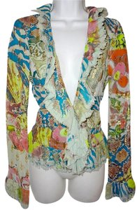 Cavalli Ruffle Top Versace Zebra Snakeskin Robert Top Multi-Color