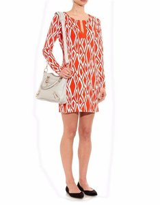 Diane von Furstenberg short dress Coral, White Dvf Silk Jersey Tunic Reina on Tradesy
