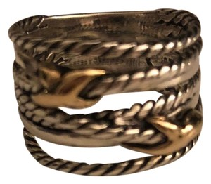 David Yurman David Yurman Sterling Silver &18k Gold Double X Crossover Ring Size 7