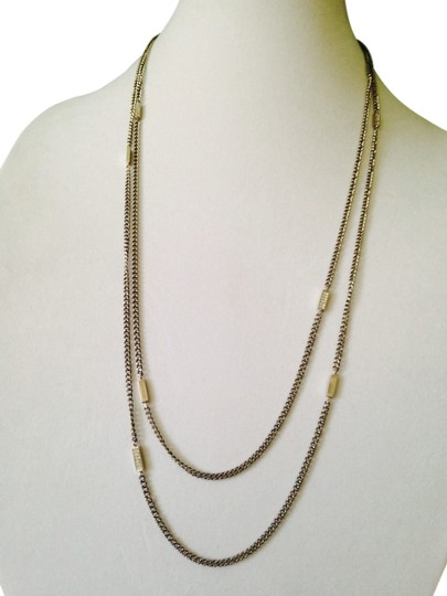 Michael Kors NWT Silver Bars & Cubic Zirconia Bars Long Chain Necklace
