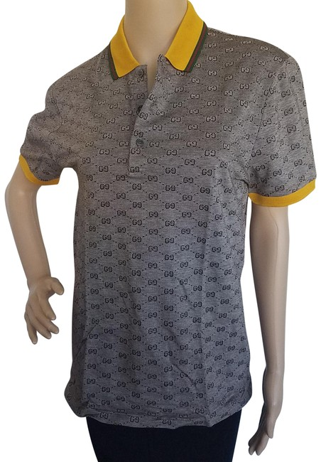 Item - Brown Yellow Gg Print Supreme Print Polo Tee Shirt Size 12 (L)