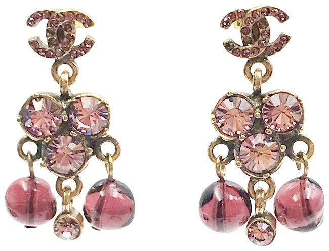 Item - Gold Pink Red Plated Cc Crystal Argyle Dangle Piercing Earrings