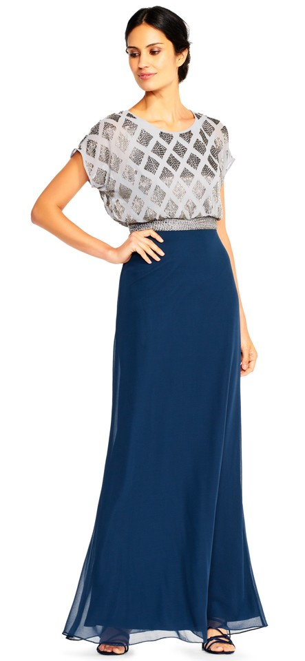Adrianna Papell Navy Silver Beaded Blouson Top Bodice Gown Short ...