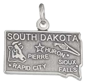 unknown Sterling Silver Antiqued South Dakota State Charm