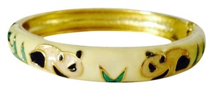 Panda & Bamboo Enamel Hinged Bangle Bracelet