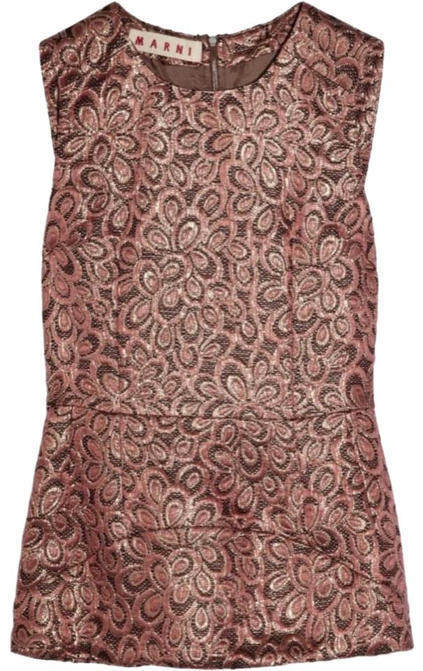 novel style new select for authentic Marni Rose Gold Coral Embroidered Metallic Cotton Silk Metallic Blouse Size  2 (XS) 84% off retail