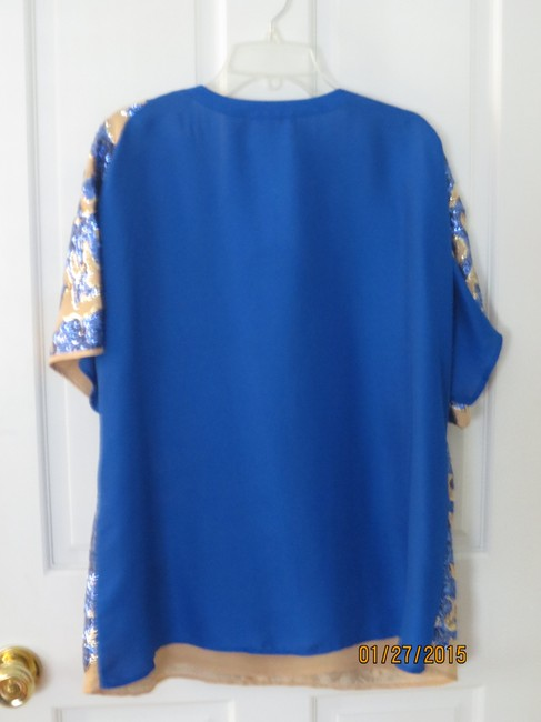 Tracy Reese Top Taupe & Blue