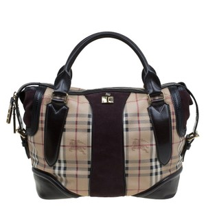 Burberry Novacheck Pattern Leather Suede Tote in Beige/Brown