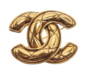 Chanel Gold Quilted Cc Logo Brooch/Pin