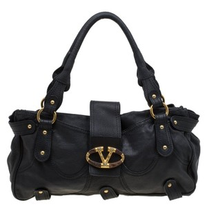 Valentino Leather Crystal Catch Satchel in Black