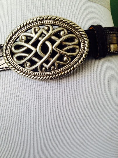 Other Not Brighton Black Leather & Silver Scroll Concha Belt