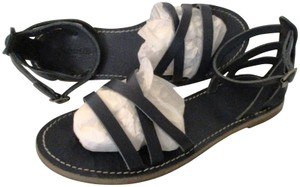 Madewell Strappy Anklestrap Pewter Hardware Flats Accent Stitiching Blue Sandals