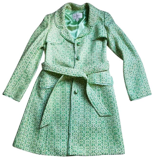 Item - Multi Green and White Cotton/Rayon Dress Coat Size 4 (S)