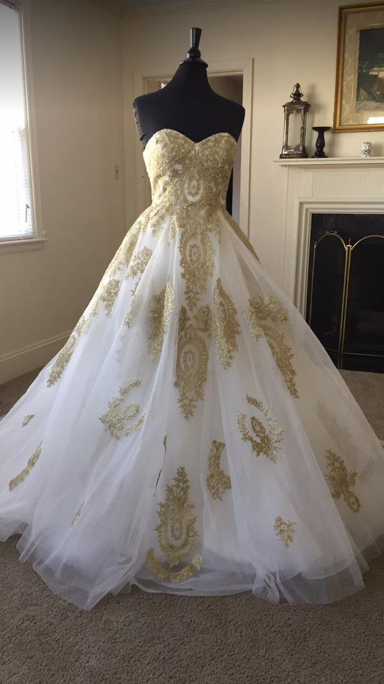 White Gold Lace Appliques Sheer Netting Tulle Formal Wedding Dress ...
