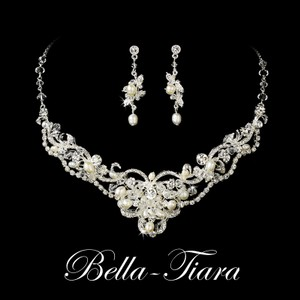 Bella Tiara Ivory Pearl Swarovski Necklace Jewelry Set