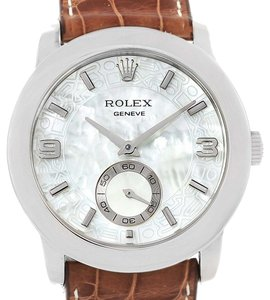 Rolex Rolex Cellini Cellinium Platinum Brown Strap Mechanical Mens Watch