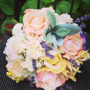 Spring Tones Lavender Pink Yellow Cream Green Custom Made Large Bridal Bouquet