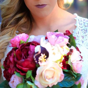 Burgundy Pink Rose Cream Cascading Bridal Bouquet