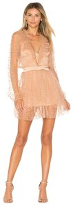 For Love & Lemons And All That Glitters Mini Lace Star Print Sheer Dress