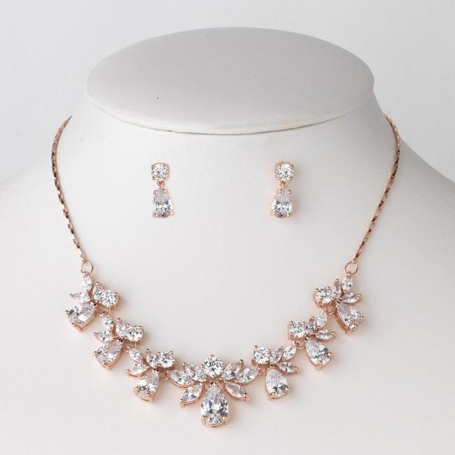 Item - Rose Gold Cubic Zirconia Crystas Necklace Earrings Jewelry Set