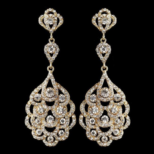 Item - Gold Clear Vintage Inspired Austrian Crystals Chandelier Earrings