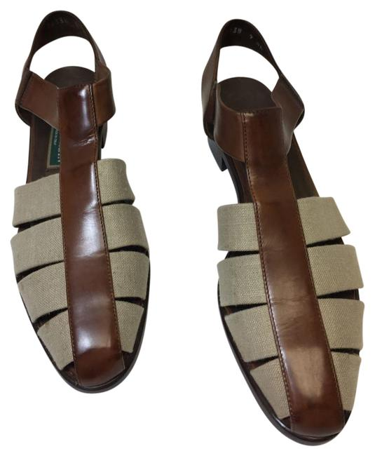 Item - Brown and Beige Vintage Italian Leather Sandals Size US 9 Narrow (Aa, N)