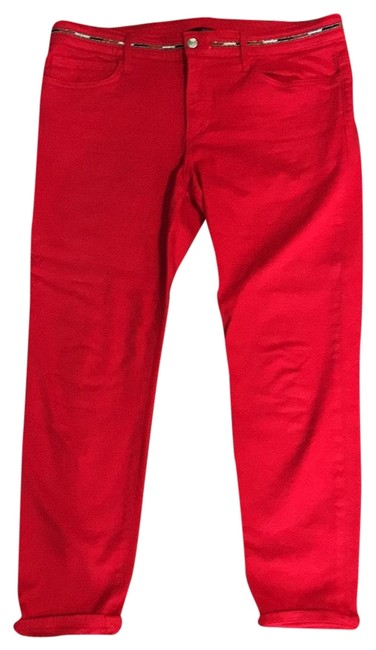 Item - Red Beaded Detail Capri/Cropped Jeans Size 33 (10, M)